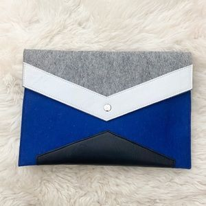 Felted Wool & Leather Cobalt Blue Clutch